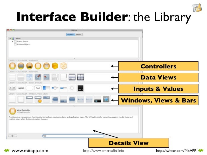 Interface Builder: the Library                                                  Controllers                               ...