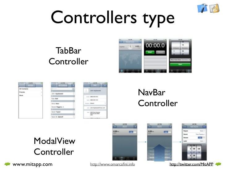 Controllers type              TabBar             Controller                                                        NavBar ...