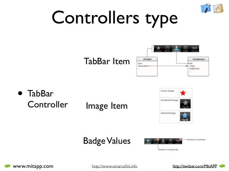 Controllers type                   TabBar Item    • TabBar     Controller   Image Item                    Badge Values  ww...