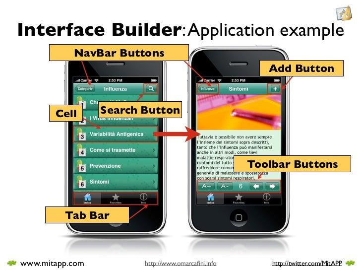 Interface Builder: Application example            NavBar Buttons                                                        Ad...