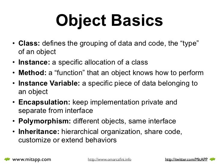 """Object Basics • Class: defines the grouping of data and code, the """"type""""   of an object • Instance: a specific allocation ..."""