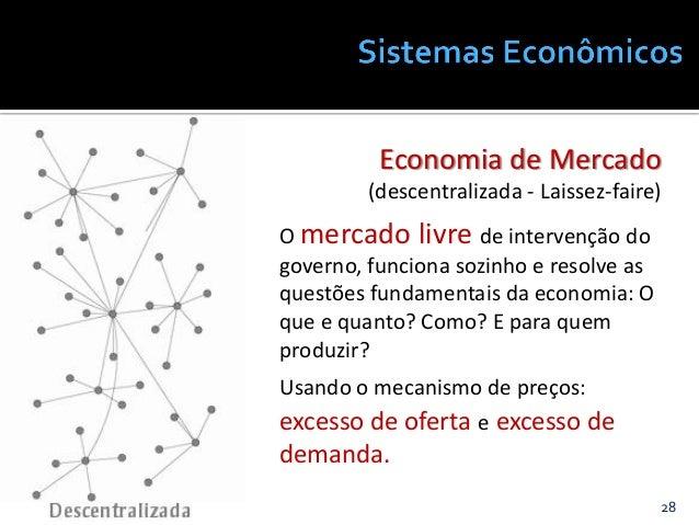 28@JanairaFranca Economia de Mercado (descentralizada - Laissez-faire) O mercado livre de intervenção do governo, funciona...