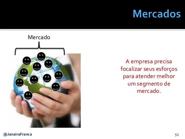 52@JanairaFranca Mercado A empresa precisa focalizar seus esforços para atender melhor um segmento de mercado.