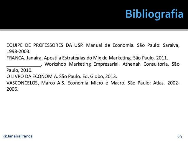 EQUIPE DE PROFESSORES DA USP. Manual de Economia. São Paulo: Saraiva, 1998-2003. FRANCA, Janaíra. Apostila Estratégias do ...