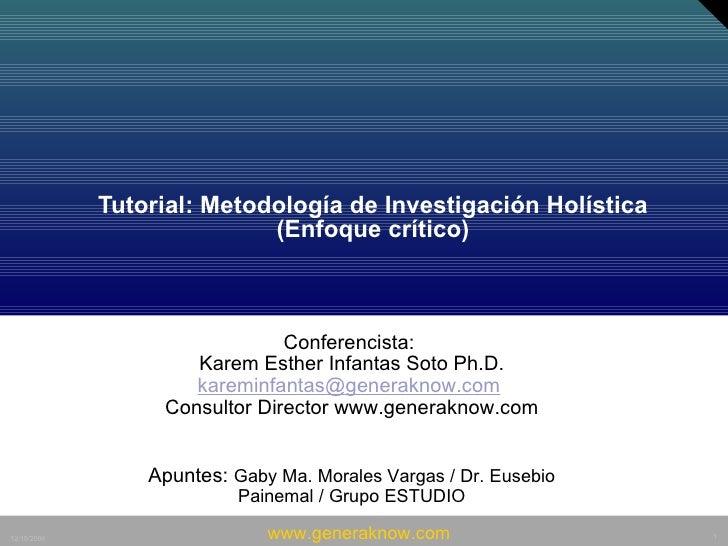 Tutorial: Metodología de Investigación Holística (Enfoque crítico)    Conferencista:  Karem Esther Infantas Soto Ph.D. ...