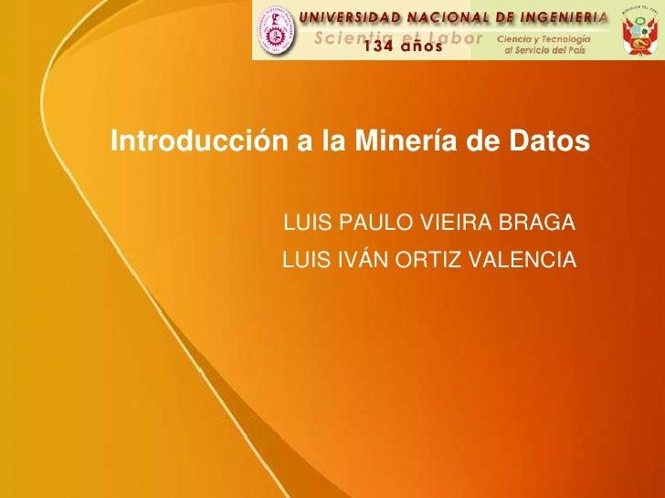 Introducción a laMinería de Datos LUIS PAULO VIEIRA BRAGA LUIS IVÁN ORTIZ VALENCIA