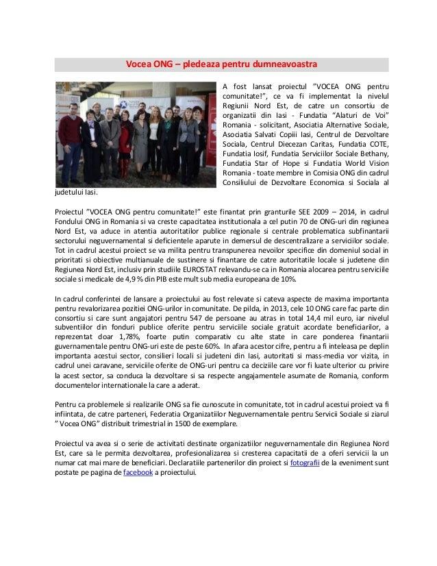 """Vocea ONG – pledeaza pentru dumneavoastra A fost lansat proiectul """"VOCEA ONG pentru comunitate!"""", ce va fi implementat la ..."""
