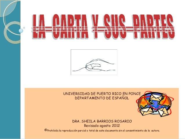 UNIVERSIDAD DE PUERTO RICO EN PONCE                    DEPARTAMENTO DE ESPAÑOL                       DRA. SHEILA BARRIOS R...