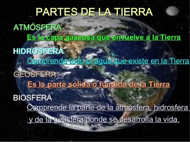 PARTES DE LA TIERRAPARTES DE LA TIERRA ATMÓSFERAATMÓSFERA Es la capa gaseosa que envuelve a la TierraEs la capa gaseosa qu...