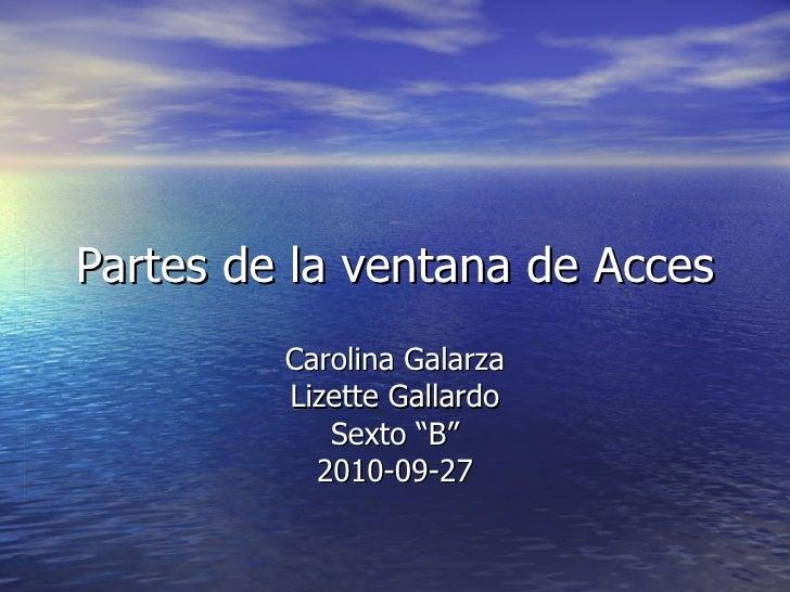 """Partes de la ventana de Acces Carolina Galarza Lizette Gallardo Sexto """"B"""" 2010-09-27"""
