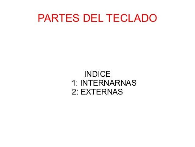 PARTES DEL TECLADO  INDICE 1: INTERNARNAS 2: EXTERNAS