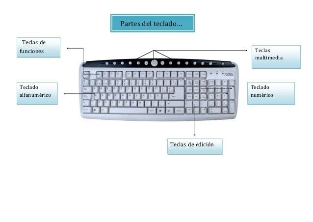 Partes del teclado… Teclado alfanumérico Teclas de funciones Teclas multimedia Teclado numérico Teclas de edición
