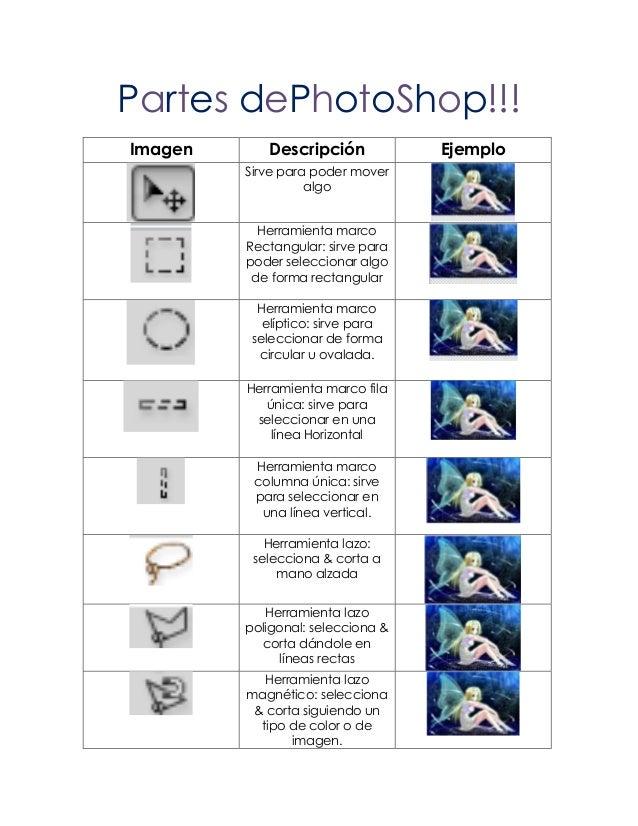 Partes dePhotoShop!!!Imagen      Descripción            Ejemplo         Sirve para poder mover                   algo     ...