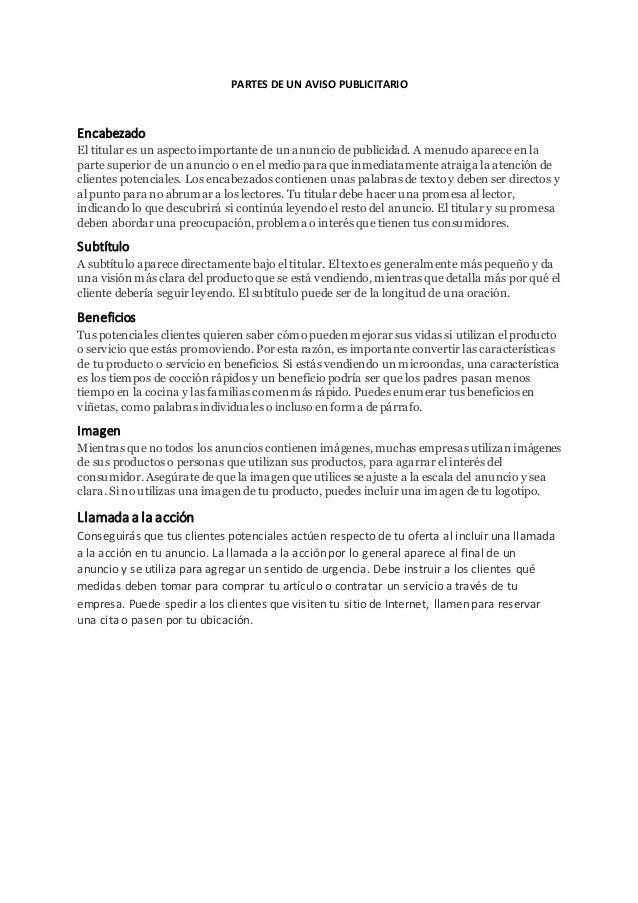 PARTES DE UN AVISO PUBLICITARIO  Encabezado  El titular es un aspecto importante de un anuncio de publicidad. A menudo apa...