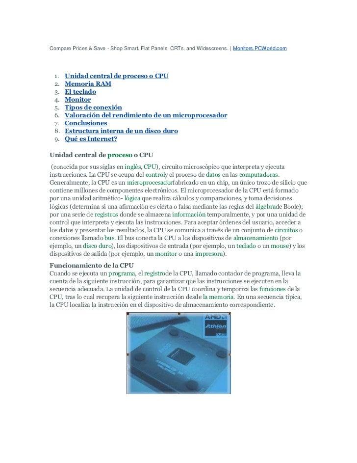 Compare Prices & Save - Shop Smart. Flat Panels, CRTs, and Widescreens.   Monitors.PCWorld.com<br />Unidad central de proc...