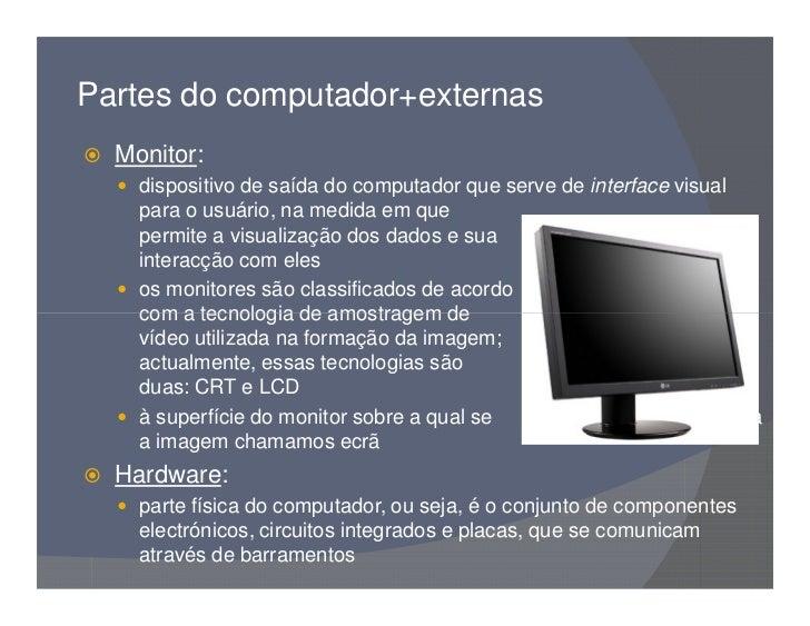 Partes do computador - Medidas de monitores para pc ...