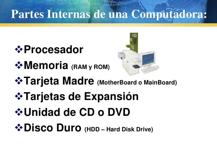 Partes internas y externas de una computadora