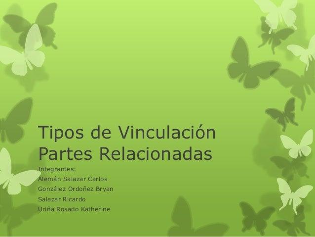 Tipos de Vinculación Partes Relacionadas Integrantes: Alemán Salazar Carlos González Ordoñez Bryan Salazar Ricardo Uriña R...