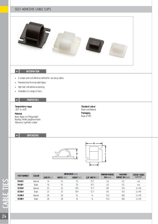 f72eec2eb5fd 24. 24 W C H L SELF-ADHESIVE CABLE CLIPS INFORMATION CABLETIES ...