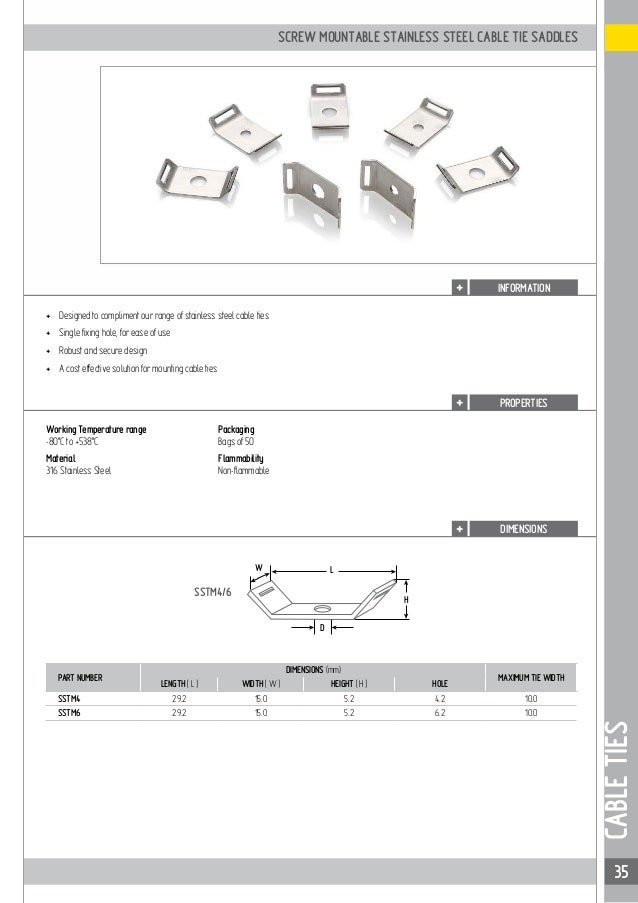 1275ceda41c2 ... 35. 35 SSTM4/6 W L D H INFORMATION CABLETIES SCREW MOUNTABLE STAINLESS  STEEL CABLE TIE ...
