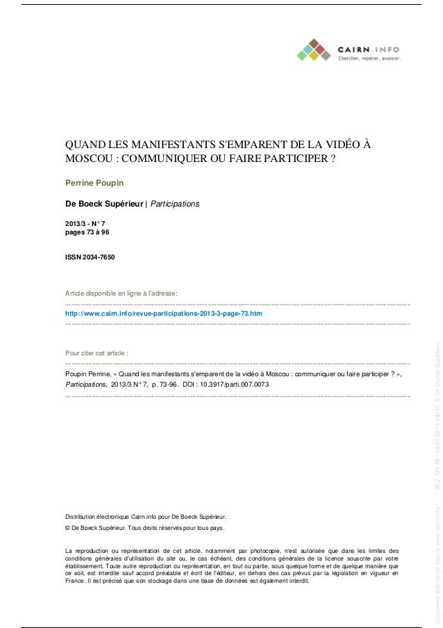 QUAND LES MANIFESTANTS S'EMPARENT DE LA VIDÉO À MOSCOU : COMMUNIQUER OU FAIRE PARTICIPER ? Perrine Poupin De Boeck Supérie...