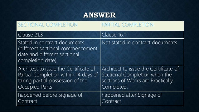Partial possession by employer 29052017 finalized 1 21 answer sectional completion yadclub Images