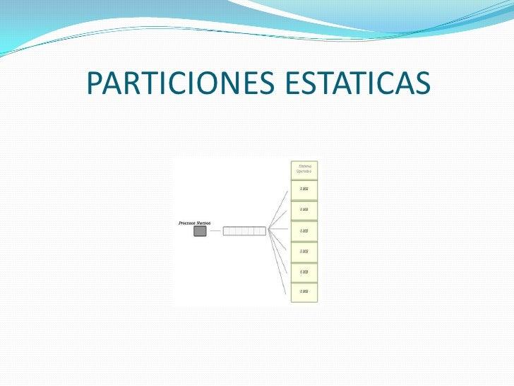 PARTICIONES ESTATICAS<br />
