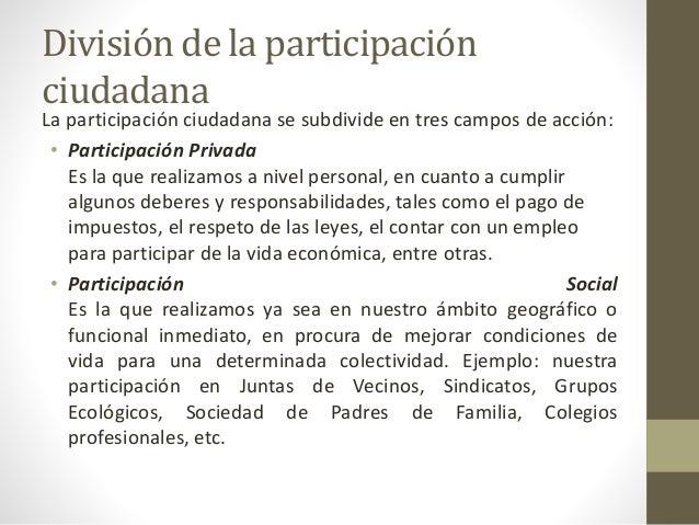 División de la participación ciudadana La participación ciudadana se subdivide en tres campos de acción: • Participación P...