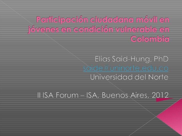    Alto nivel de penetración de la telefonía    móvil en Colombia Vs la telefonía fija.   Alto porcentaje de población v...