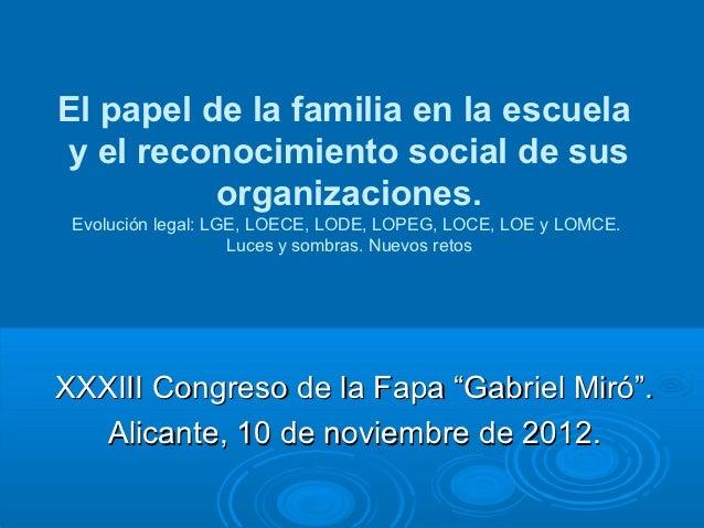 El papel de la familia en la escuela y el reconocimiento social de sus          organizaciones. Evolución legal: LGE, LOEC...