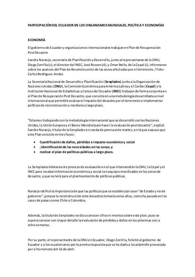 PARTICIPACIÓNDEL ECUADOR EN LOS ORGANISMOSMUNDIALES,POLÍTICA Y ECONOMÍAS ECONOMÍA El gobiernode Ecuadory organizacionesint...