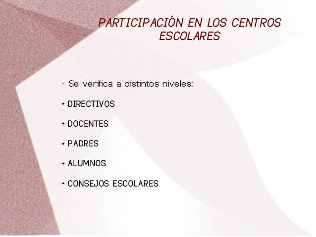PARTICIPACIÓN EN LOS CENTROS ESCOLARES - Se verifica a distintos niveles:  DIRECTIVOS  DOCENTES  PADRES  ALUMNOS  CON...