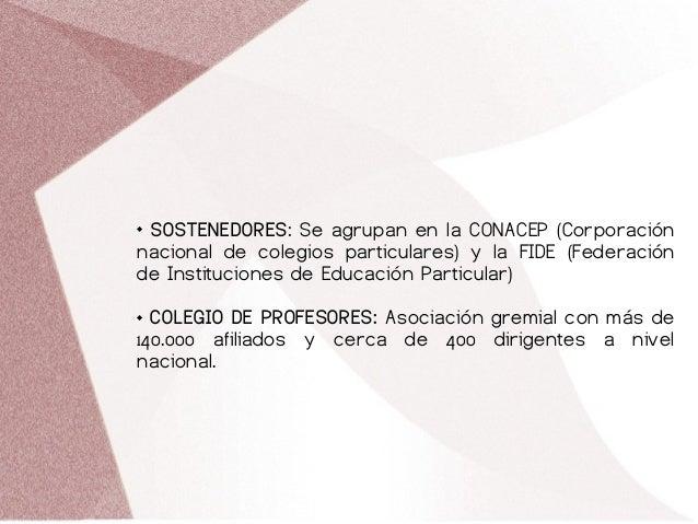  SOSTENEDORES: Se agrupan en la CONACEP (Corporación nacional de colegios particulares) y la FIDE (Federación de Instituc...