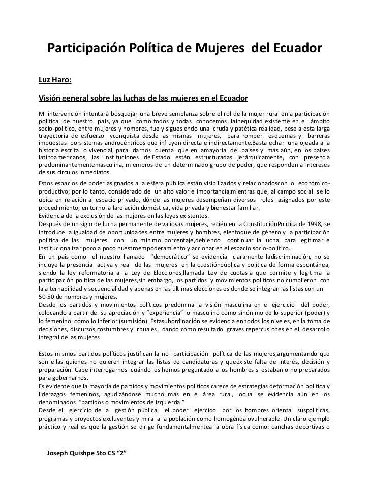 Participación Política de Mujeres del EcuadorLuz Haro:Visión general sobre las luchas de las mujeres en el EcuadorMi inter...
