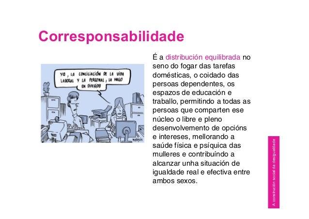 Corresponsabilidade É a distribución equilibrada no seno do fogar das tarefas domésticas, o coidado das persoas dependente...