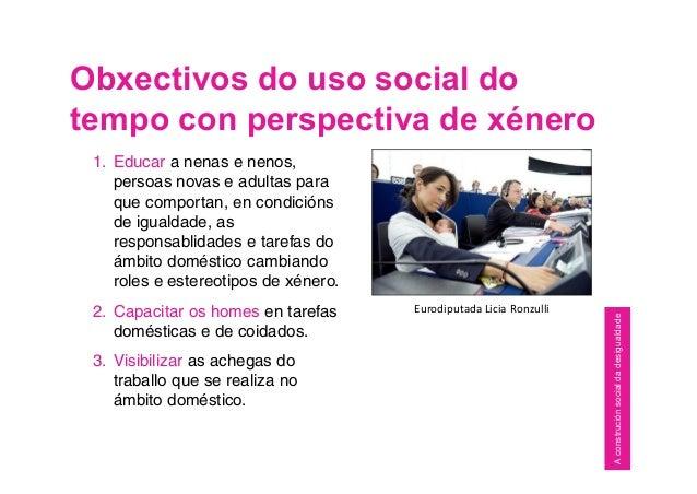 Obxectivos do uso social do tempo con perspectiva de xénero Eurodiputada Licia Ronzulli 1. Educar a nenas e nenos, persoas...