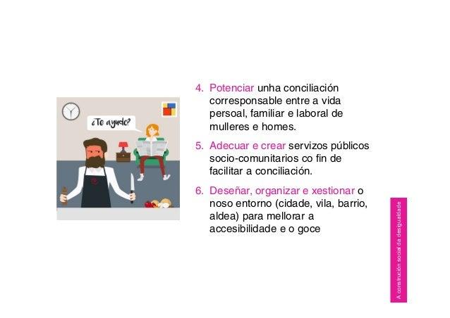 4. Potenciar unha conciliación corresponsable entre a vida persoal, familiar e laboral de mulleres e homes. 5. Adecuar e c...