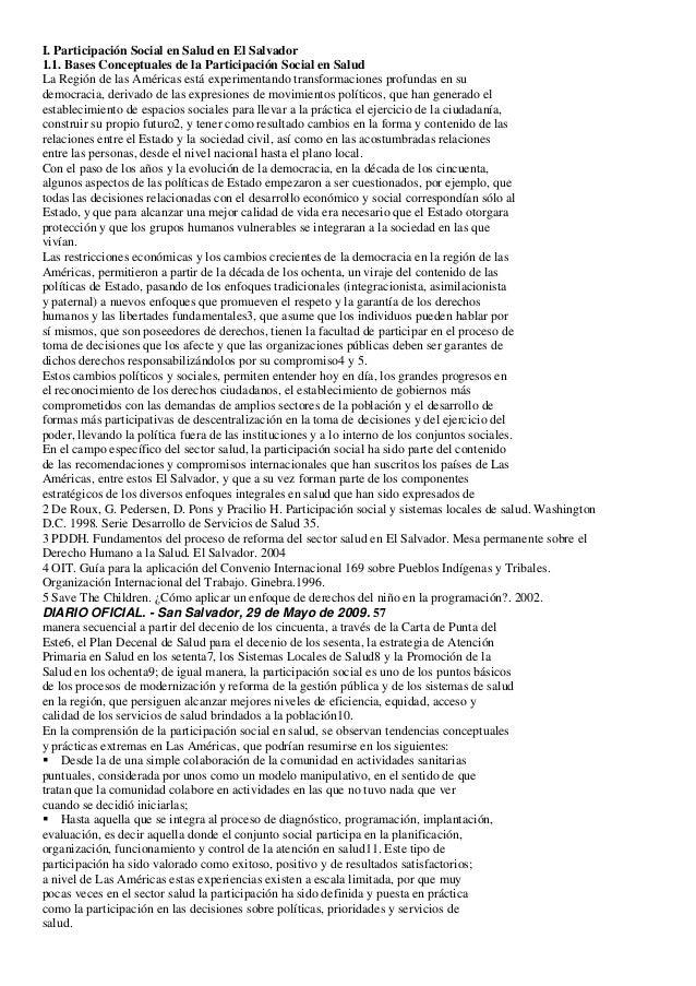 I. Participación Social en Salud en El Salvador1.1. Bases Conceptuales de la Participación Social en SaludLa Región de las...