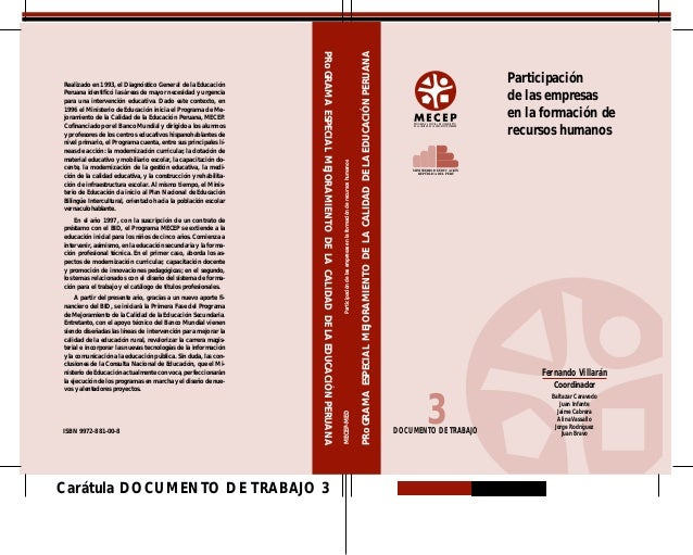 PRoGRAMA ESPECIAL MEJORAMIENTO DE LA CALIDAD DE LA EDUCACIÓN PERUANA                                                      ...