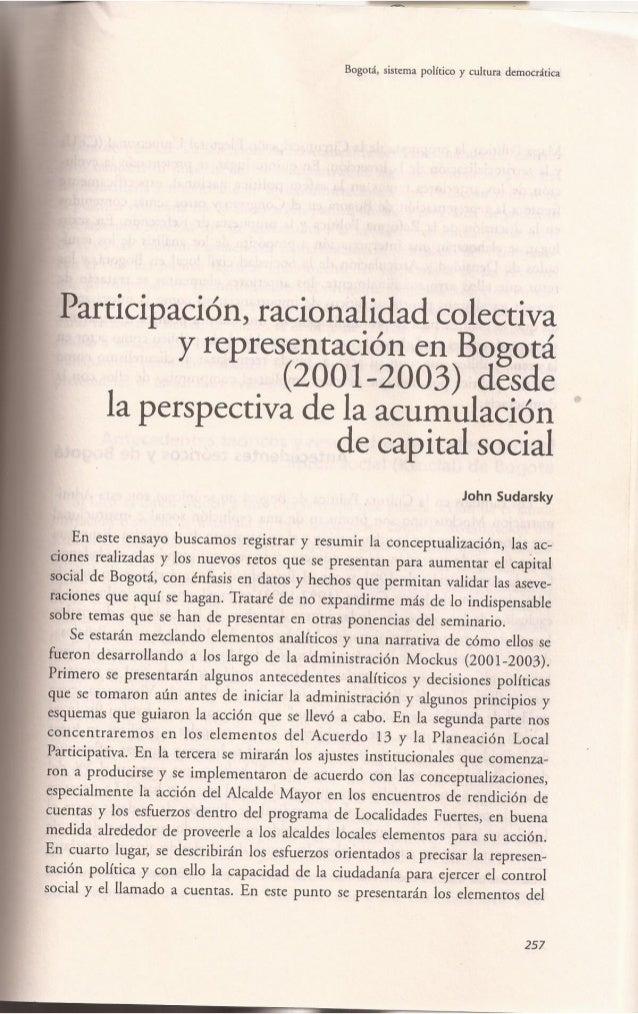 Participación, racionalidad colectiva y Representación en Bogotá (2001-2003) desde la perspectiva de la acumulación de cap...