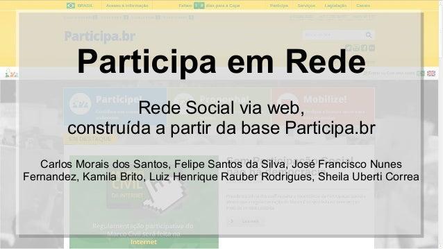 Participa em Rede Rede Social via web, construída a partir da base Participa.br Carlos Morais dos Santos, Felipe Santos da...