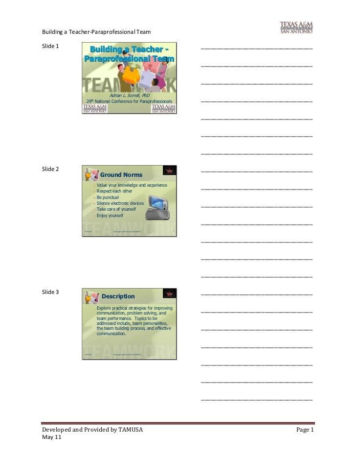 Building a Teacher-Paraprofessional TeamSlide 1                                                                         __...