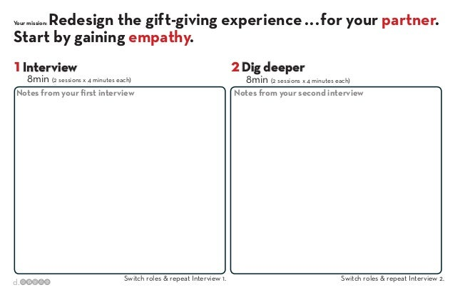 Redesign the gift-giving experience . . . for your partner. Start by gaining empathy. Your mission:  1 Interview  8min (2 ...