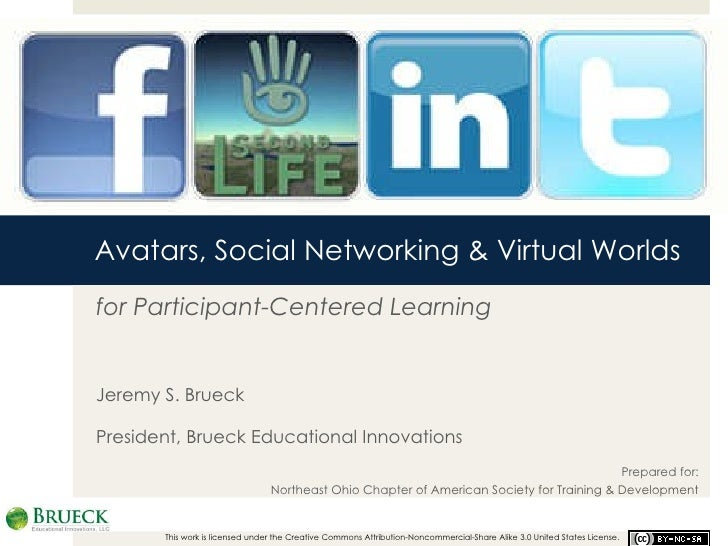Avatars, Social Networking & Virtual Worlds for Participant-Centered Learning Jeremy S. Brueck President, Brueck Education...