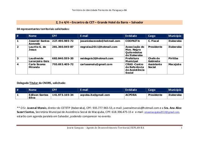 Território de Identidade Piemonte do Paraguaçu-BA Josete Sampaio – Agente de Desenvolvimento Territorial/SEPLAN-BA 1 2, 3 ...