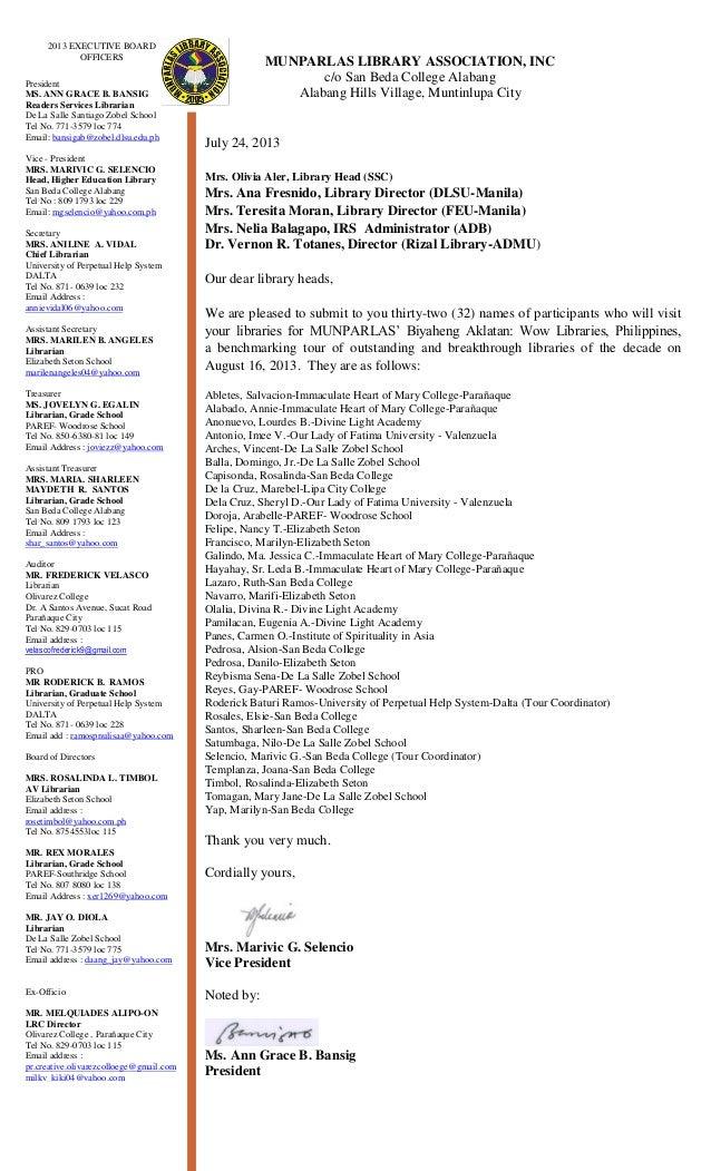 MUNPARLAS LIBRARY ASSOCIATION, INC c/o San Beda College Alabang Alabang Hills Village, Muntinlupa City July 24, 2013 Mrs. ...