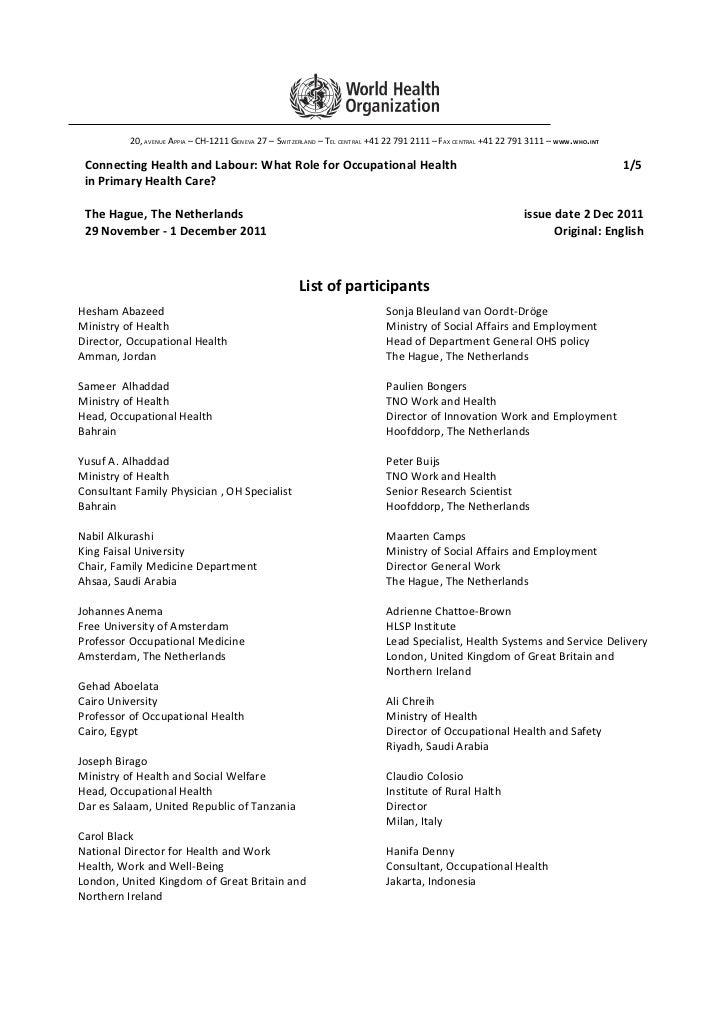 Final list of participants  2 dec 2011