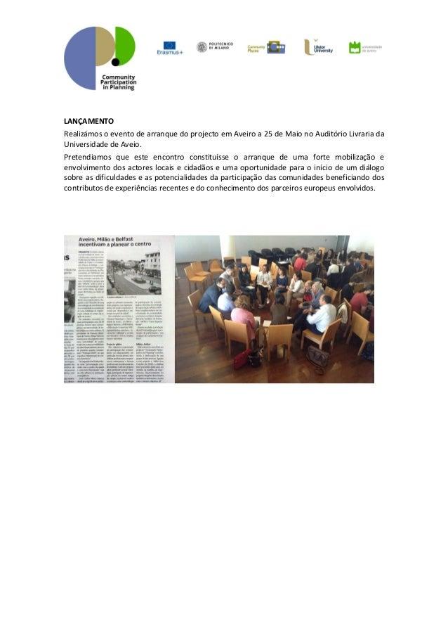 Participação das comunidades no planeamento sessão de lançamento Slide 2