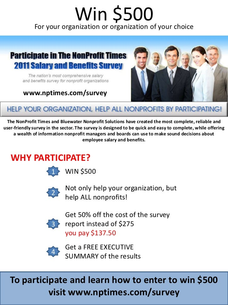 Win $500<br />For your organization or organization of your choice<br />www.nptimes.com/survey<br />The NonProfit Times an...