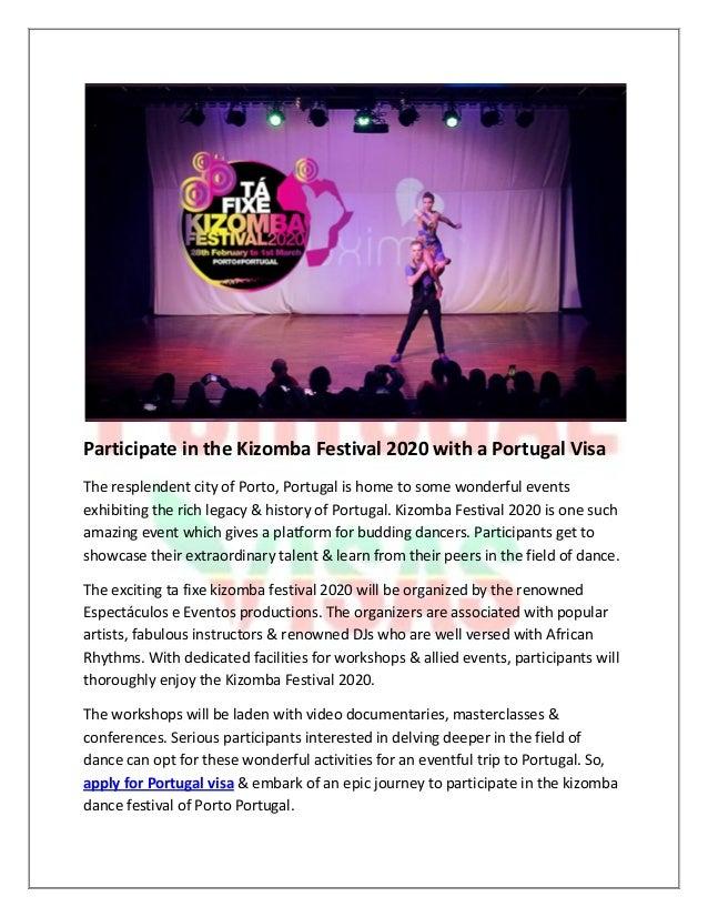 Participate in the kizomba festival 2020 with a portugal visa